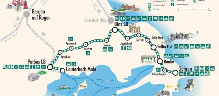 Karte Rügen.Streckennetz Rügensche Bäderbahn Rasender Roland