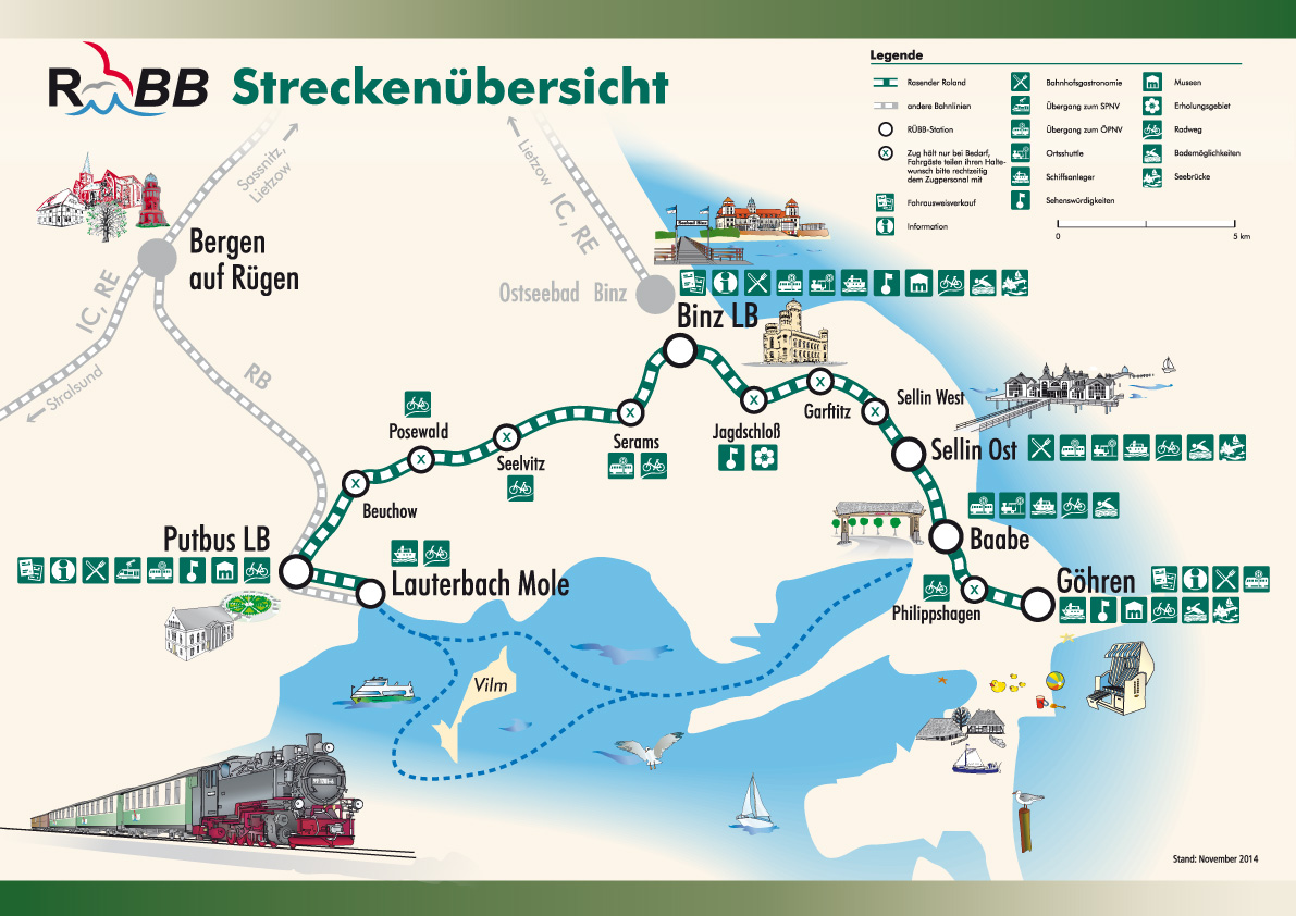 Rügen Karte.Streckennetz Rügensche Bäderbahn Rasender Roland
